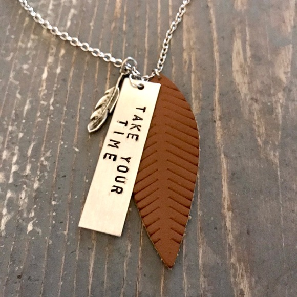 """handmade Jewelry - Hand stamped """"TAKE YOUR TIME"""" necklace"""